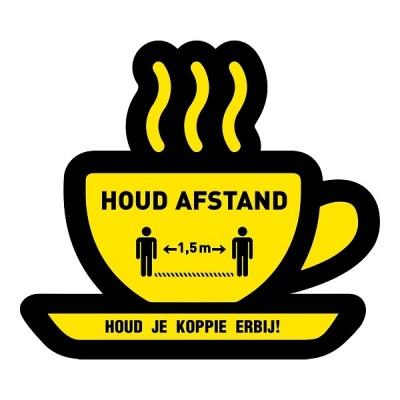 Houd afstand koffie kopje