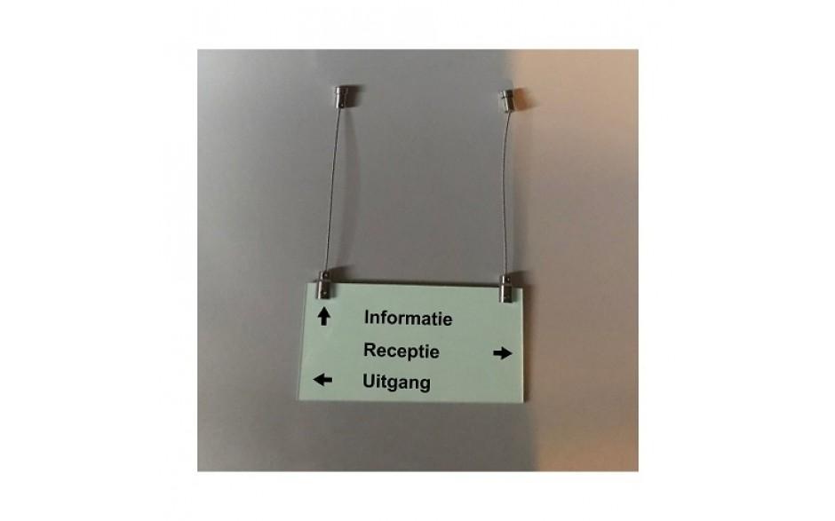 Hangbord glas (2x glasplaat 4 mm dik) incl. 2 RVS afstandhouders (excl. opdruk)