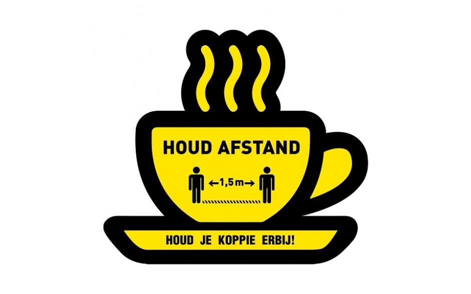 Houd afstand koffie kopje + vloerlaminaat (antislip)