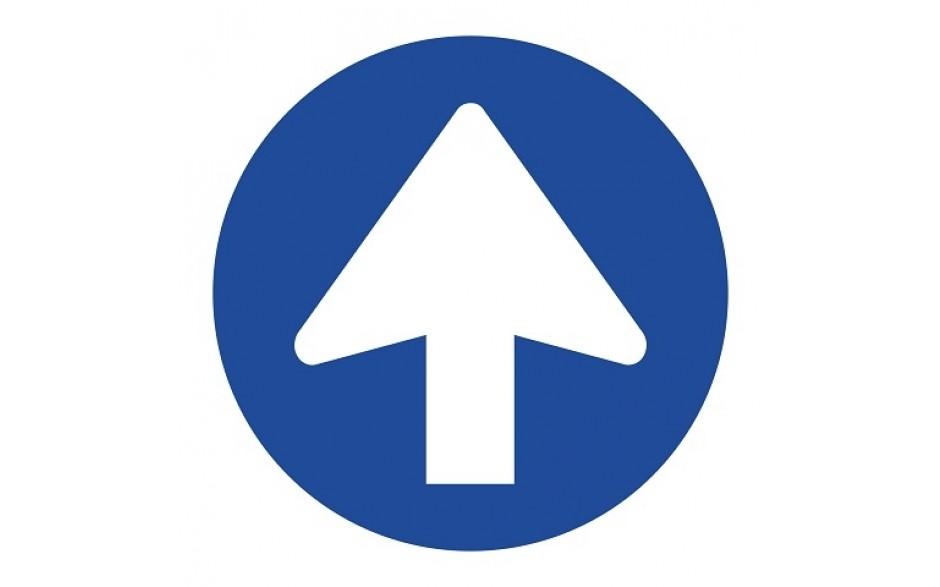 Pijl blauw rond + vloerlaminaat (antislip)