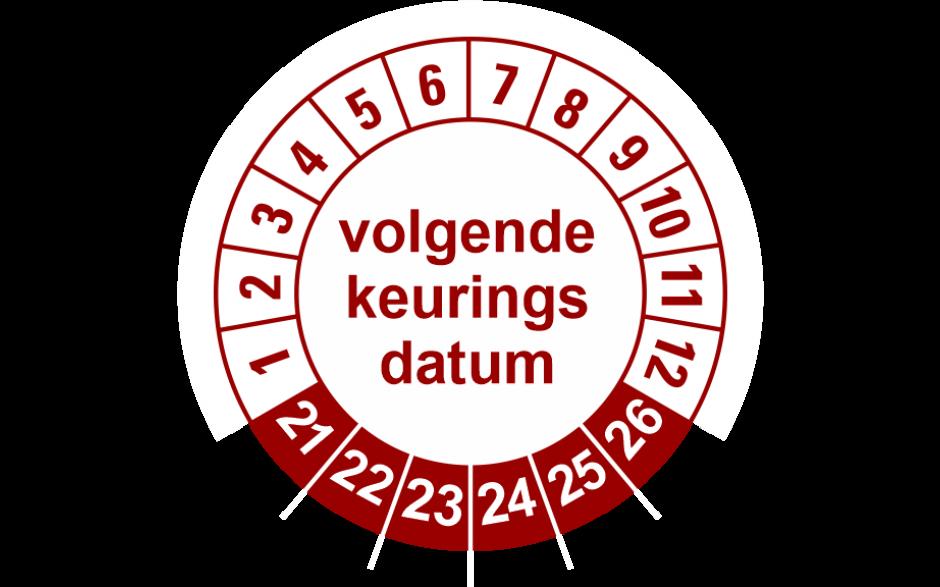 924 Volgende keuringsdatum rood