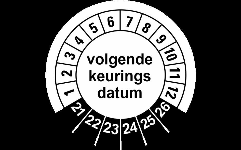 925 Volgende keuringsdatum zwart