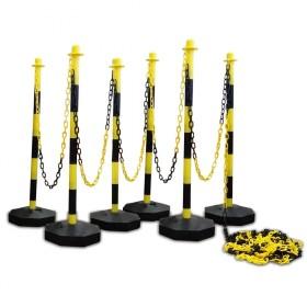 Kettingpalen set (6 stuks) geel / zwart met ketting