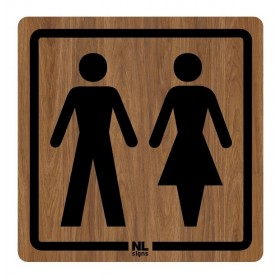 WC bord man-vrouw HOUTLOOK zelfklevend
