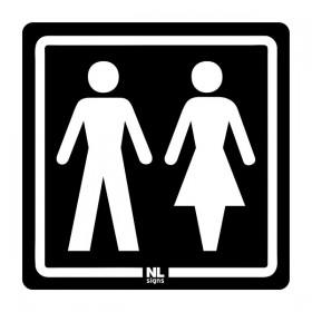 WC bord man-vrouw NALICHTEND (blauw) zelfklevend