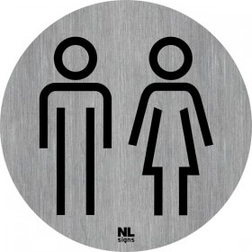 WC bord man-vrouw RVS zelfklevend ø 75 mm